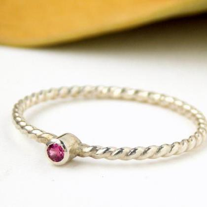 Tiny Rope Birthstone Ring: silver r..